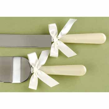 Ivory Pearl Handle Serving Set - -