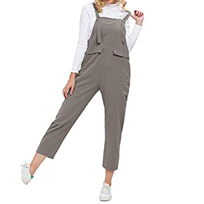 TrendyCosmo Womens Loose Jumpsuits Casual Wide Leg Overalls Plus Size Rompers with Pockets S-XL: Clothing