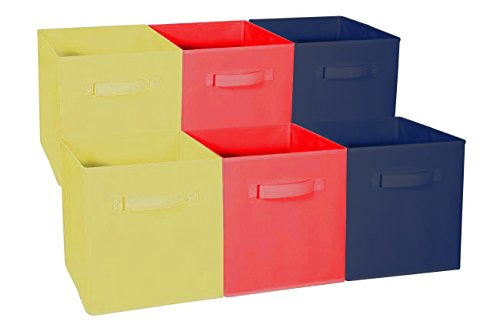 Sorbus Foldable Storage Cube Basket Bin – Great for Nursery, Playroom, Closet, Home Organization (Multi – Yellow Red Navy, 6 Pack)