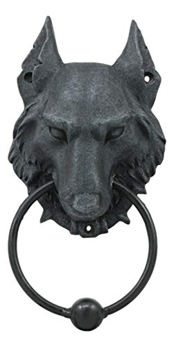 ShopForAllYou Figurines and Statues Full Moon Gothic Chained Wolf Gargoyle Door Knocker Lycan Figurine 8.25
