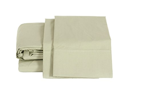 (100% Cotton Percale Sheets Queen Size, Sage, Deep Pocket, 4 Piece - 1 Flat, 1 Deep Pocket Fitted Sheet and 2 Pillowcases, Crisp and Strong Bed Linen)