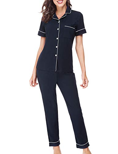 - RIKILIO Women Cotton Pajamas Set Soft Button Front Shirts Long Pants PJS(Dark Blue,S)