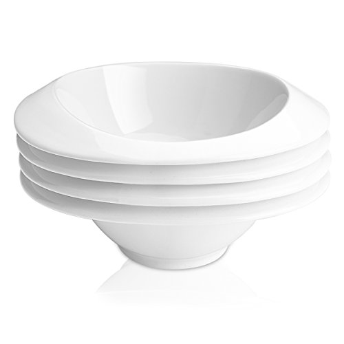 Delling 12 Oz Cereal Bowls Set, Handle Porcelain Bowls with Anti-scalding Design and Stack Evenly for Cereal, Soup, Dessert and More, Set of 4, White