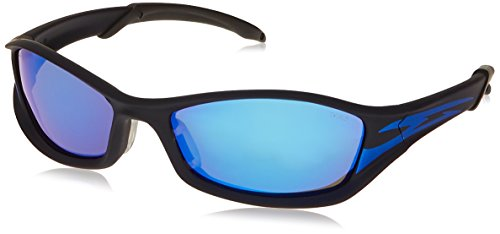 MCR Safety TB148B Tribal Hybrid Temple Design Safety Glasses with Onyx/Blue Tattoo Frame and Blue Diamond Mirror Lens]()