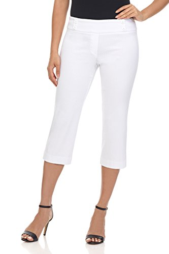 Rekucci Women's Ease in to Comfort Fit Capri with Button Detail (18,White Diamond -