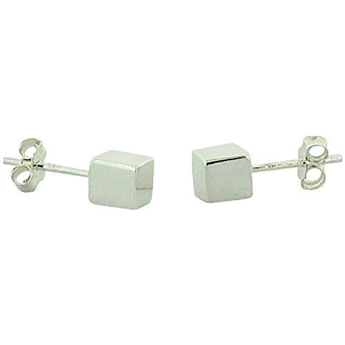 Silver Cube Earrings - TOC Sterling Silver Cube Stud Earrings 5mm