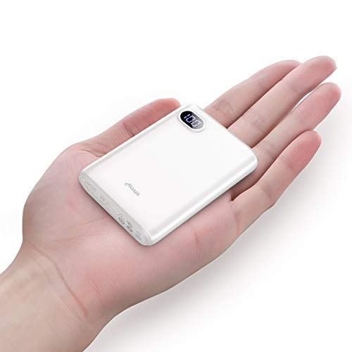 - 10000mAh Portable Charger,(Smallest) (LCD Display) (Powerful) Ainope External Battery Pack/Battery Charger/Phone Backup Power Bank with Dual USB Output(3.1A),Perfect Carry for Travel-White
