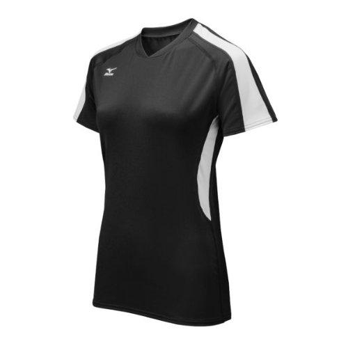 Mizuno Women's Techno Volley IV Short Sleeve Jersey, Black/White, X-Large