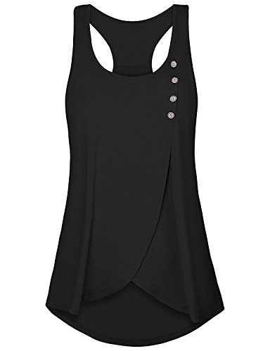 Tanst Summer Tank Tops for Women 2018 Lady Casual Sleeveless Shirts Scoop Neck Button Decor Pleated A Line Loose Crossover Hem Racerback Tunic Clothes Black L