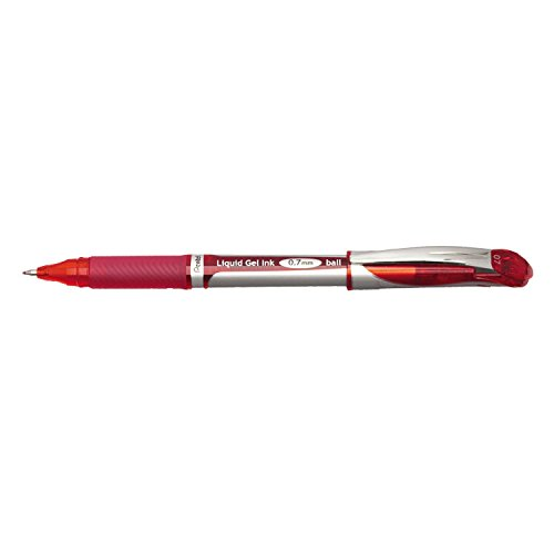 (Pentel EnerGel Deluxe Liquid Gel Pen, Medium Line, Metal Tip, Red Ink, Box of 12 (BL57-B))