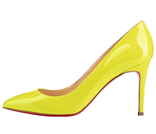Stiletto HooH Shoes Red Pointed toe Wedding Yellow Women's Sole IxBXrzI