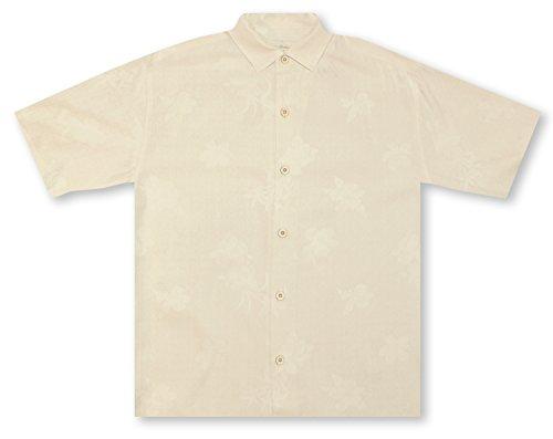 Bahama 100% Silk Shirt - Tommy Bahama Aloha Floral Silk Camp Shirt (Color Continental, Size XXL)