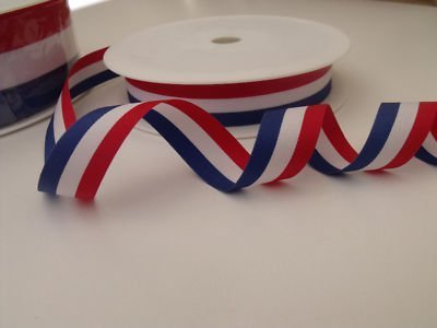 Always Knitting And Sewing 2 Metres Patriotic Ribbon Red White Blue, 25mm