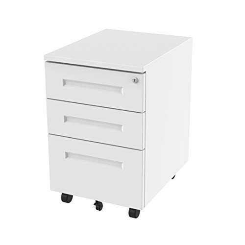 FlexiSpot File Cabinet Underdesk Mobile Pedestal Lockable Container 3-Drawer CB31W (White)