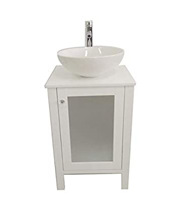 """20"""" Small Wooden Water-proofed Freestanding Bathroom Vanity Compo Ceramic Sink Faucet Pop-up Drain"""