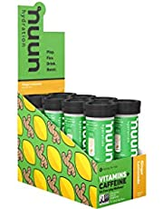 Nuun Hydration: Vitamin + Electrolyte + Caffeine Drink Tablets, Ginger Lemonade, Box of 8 Tubes (96 servings), Enhanced Formula with a Kick