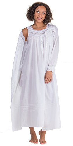 Eileen West Peignoir Set by White Cotton Gown & Robe In Magnolia (White, Large) by Eileen West