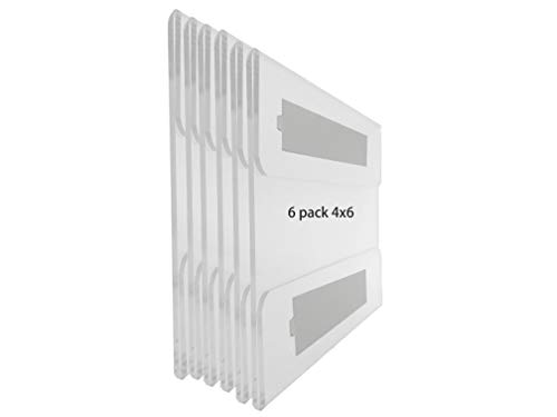 - 6 Pack Wall Acrylic Sign Holder with 3M Tape Adhesive for Office, Home, Store, Restaurant,Clear Acrylic Wall Mount Photo Frame No Drilling (Horizontal, 4x6)