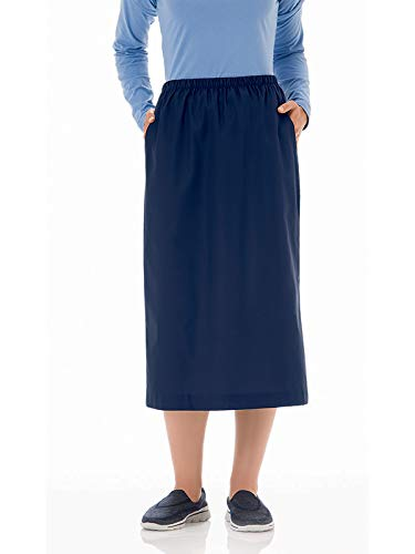 Fundamentals 14231 Women's Classic Elastic Waist Scrub Skirt Navy M