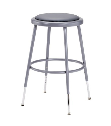 National Public Seating 6418H  Grey Steel Stool with Vinyl Upholstered Seat Adjustable, 19