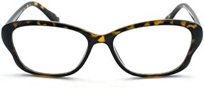 Eye-Zoom Cat Eye Tortoise Color Frame Women Reading Glasses with Spring Hinge (Yellow, Strength: +1.50)