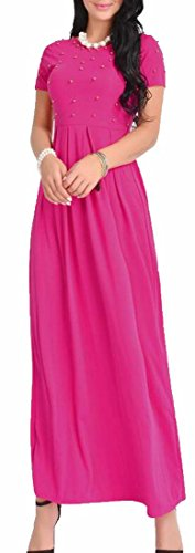 Rose Jaycargogo Summer Sleeve Swing Women's Long Short Beads Dress Red wxnqx4FI8r