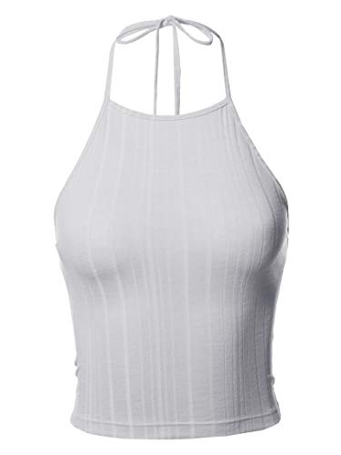 Awesome21 Solid Self Tie Halter Neck Crop Tank Top White S ()
