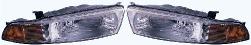 99-01 Mitsubishi Galant Headlights Headlamps Head Lights Lamps Pair Set