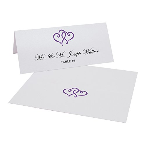 Documents and Designs Linked Hearts Easy Print Place Cards (Select Color), Purple, Set of 60 (10 Sheets)