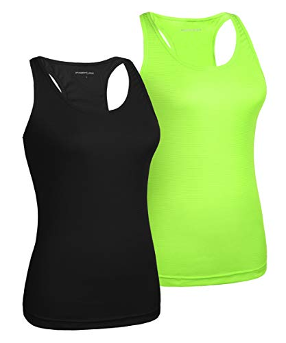 (Fastorm Women's 2 Pack Running Tank Tops for Women Active Racerback Dry Fit Tank Top Black-Neon Green L)