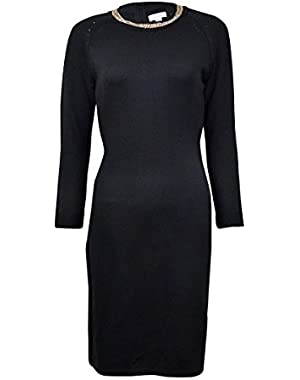 Womens Long Sleeve Sweater Dress with Chain Detail