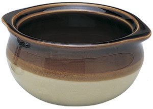 NEW, 10 oz. (Ounce) French Onion Soup Bowl, Crock Bowl, Single-Serving, Ceramic, Two-Tone Color, Flat Rim, Two-eared Rim Handle ()