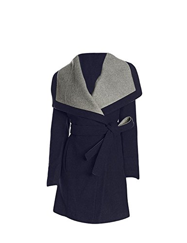 Wool Wrap Jacket (BCBGeneration Women's Navy Belted Wrap Coat (M))