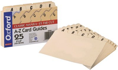 Oxford, Classic Manila-1/5 Tab Cut A-z Index Card Guides 25 Ct (Guides Manila Az Tab Card)