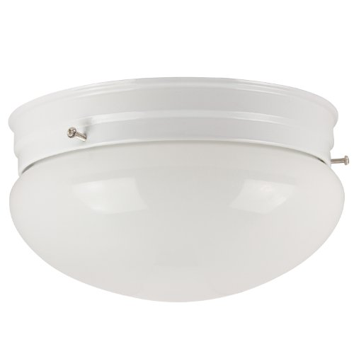 Sunlite HALL8/WH 8-Inch Mushroom Ceiling Fixture, White Finish with White Glass - Ceiling Mushroom