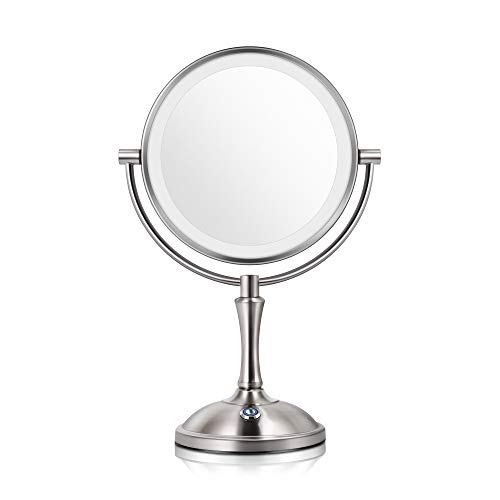 Makeup Mirror with Lights Lighted Makeup Mirror LED Vanity Mirror 7X Magnifying Magnified Double Sided Makeup Mirror Adjustable Cool White Light Mirror Large Makeup Corded Cordless Mirror (Nickel)