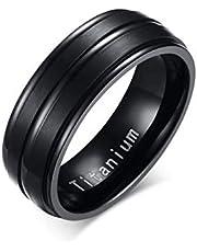 خاتم رجالي من التيتانيوم الصلب النقي أسود بسيط نمط خواتم شخصية أنيقة