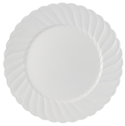 Kaya Collection - Disposable White Plastic Round 9'' Buffet Plates - 1 Case (180 Plates) by Kaya Collection