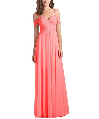 WuliDress Women's Off The Shoulder Pleated Chiffon Bridesmaid Dress Sleeveless Formal Evening Party Gown Coral Size 14