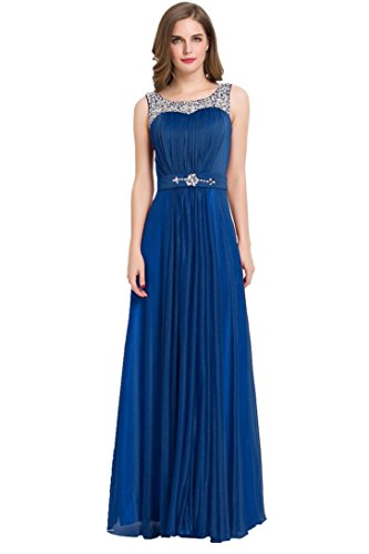 Abendkleid lang Navy mit Beauty Speghetti Beeds Trägern Emily zYwSt0qH