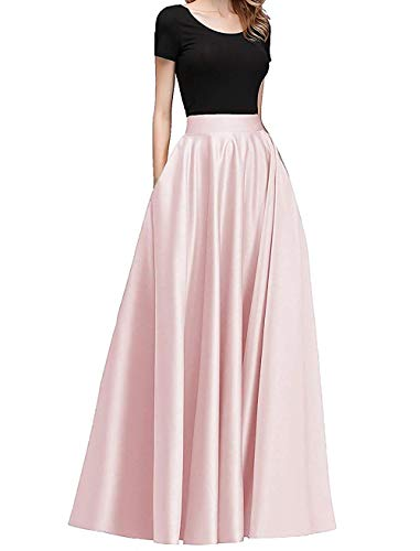 Diydress Women's Long Satin Maxi Skirt Floor Length High Waist Fomal Prom Party Skirts with Pockets Pearl Pink