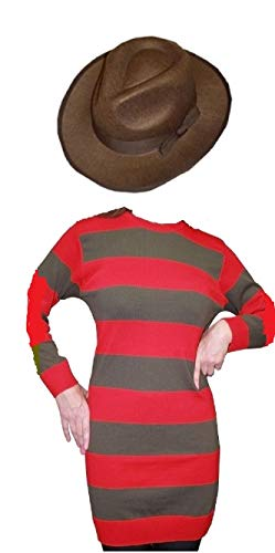 Women's Freddy Krueger Costume (Fashion Oasis Freddy Ladies Krueger Style Costume Red Striped Jumper&Hat Halloween Fancy Dress (Small/Medium, Jumper &)