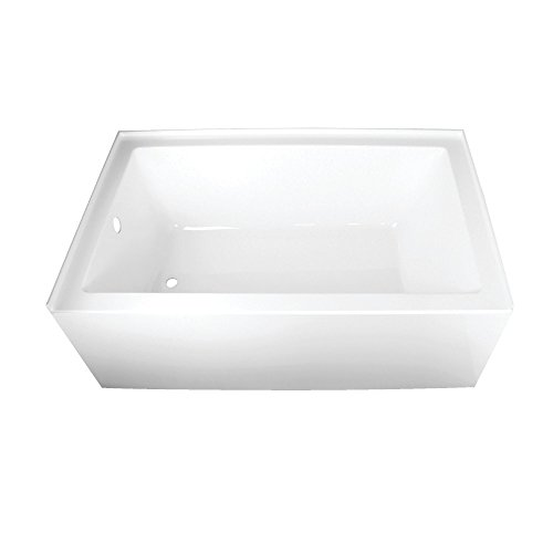 Kingston Brass VTAP603622L Aqua Eden 60-Inch Acrylic Alcove Tub with Left Hand Drain Hole, L x 36