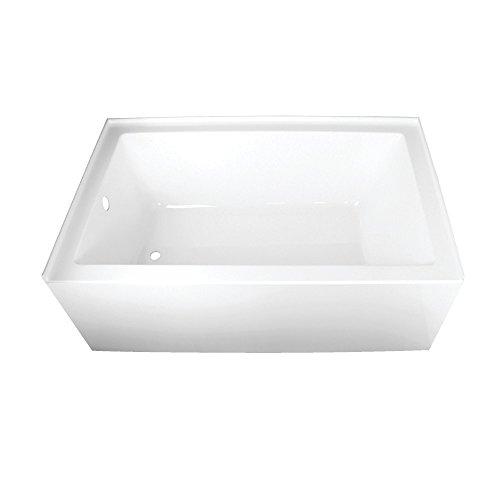 (Kingston Brass VTAP603622L Aqua Eden 60-Inch Acrylic Alcove Tub with Left Hand Drain Hole, L x 36