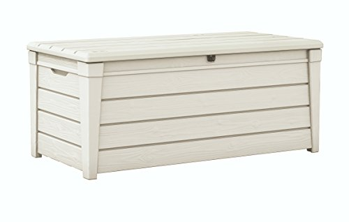 Keter Brightwood 120 Gallon Storage Pool Box Storage Deck Box with Accessories Modern Wood Look, ...