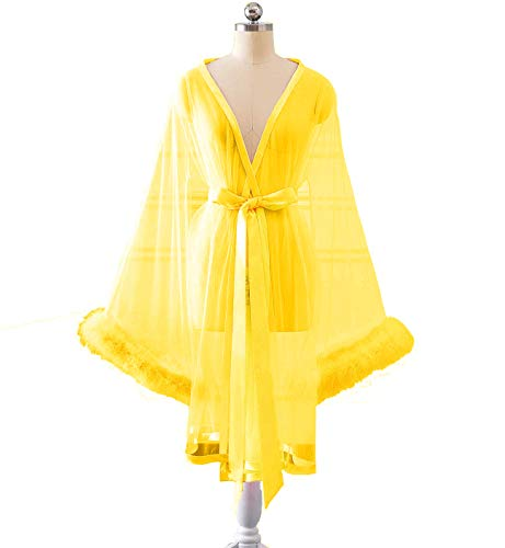 Changuan Sexy Feather Bridal Robe Tulle Illusion Long Wedding Scarf New Custom Made Short-Yellow L/XL