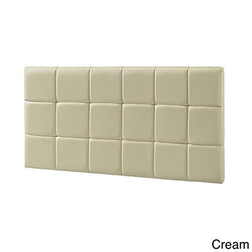 Cream Faux Leather Headboard - LYKE Home Faux Leather Full-Size Wall Mounted Headboard Cream
