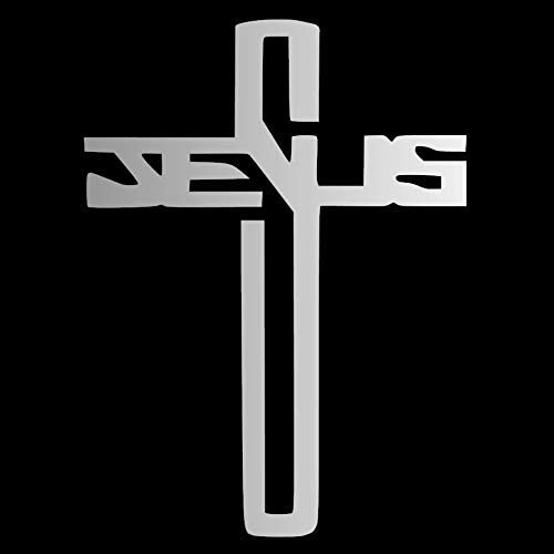 Jesus Cross Christian [Pick Any Color] Vinyl Transfer Sticker Decal for Laptop/Car/Truck/Window/Bumper (3in x 2.2in (Laptop Size), Silver)