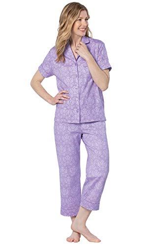 PajamaGram Ladies Pajamas - Womens Capri Pajama Sets, Lavender, M, 10-12 2 Piece Capri Pajama Set