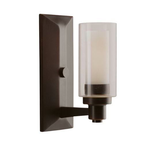Kichler Lighting 6144OZ Circolo 1-Light Wall Sconce, Olde Bronze with Clear Glass Cylinders and Umber-Etched Inner Cylinders by Kichler Lighting Circolo Sconce Light